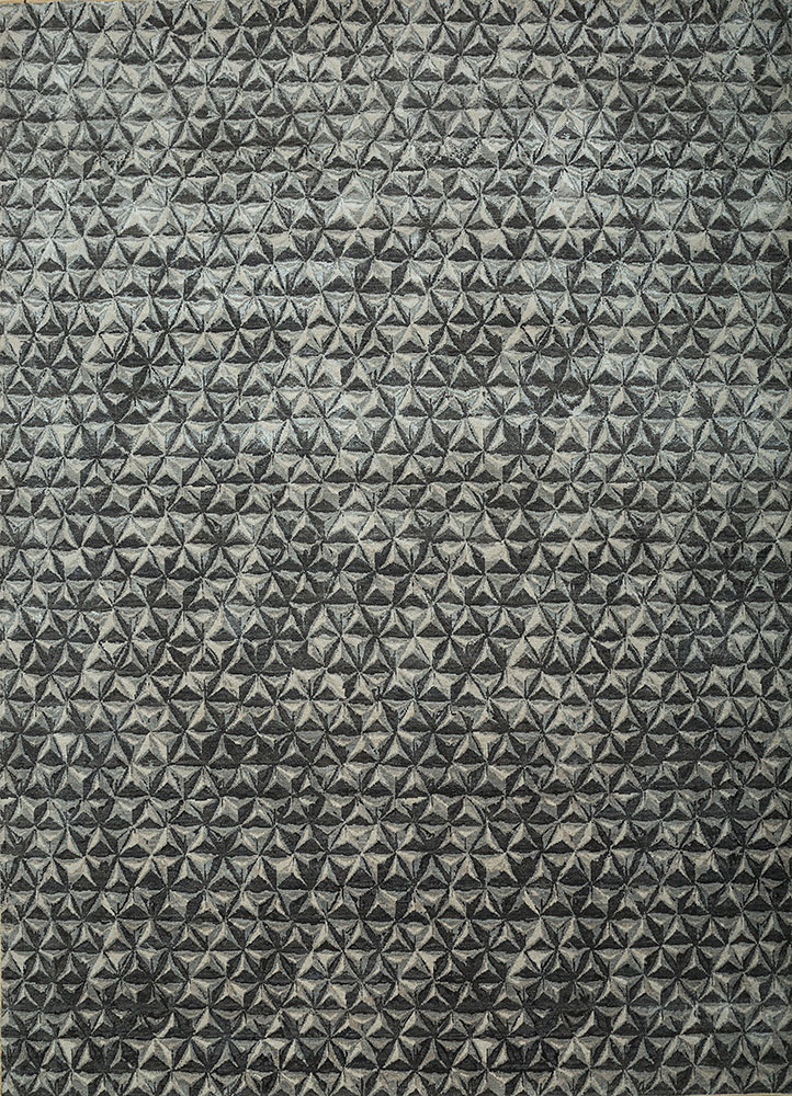 ESK-725 Frost Gray/Ashwood grey and black wool and bamboo silk hand knotted Rug