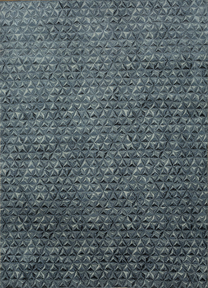 ESK-725 Blue Blush/Skyline Blue blue wool and bamboo silk hand knotted Rug