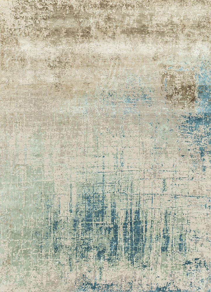 ESK-9014 Antique White/Light Sea Mist ivory wool and bamboo silk hand knotted Rug