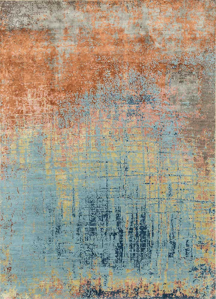 ESK-9014 Sea Mist Green/Red Orange blue wool and bamboo silk hand knotted Rug