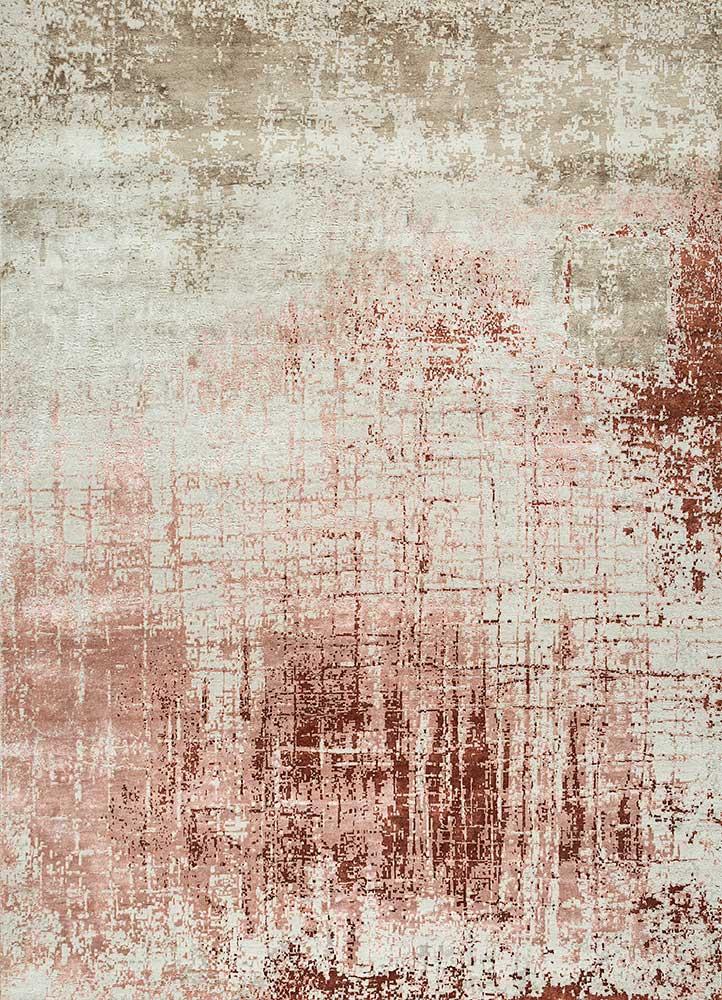 ESK-9014 Antique White/Copper Tan ivory wool and bamboo silk hand knotted Rug