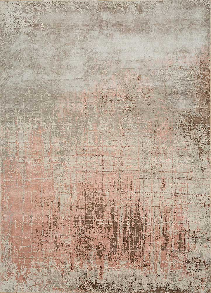 ESK-9014 Antique White/Pink Tint ivory wool and bamboo silk hand knotted Rug