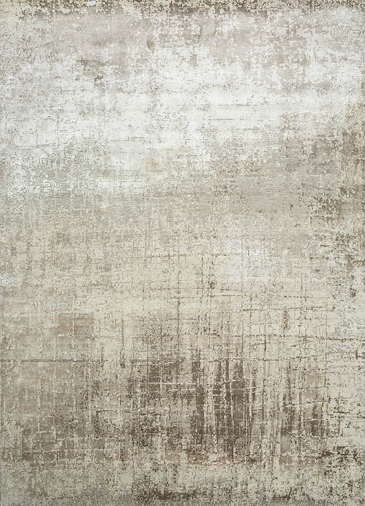ESK-9014 Classic Gray/White Sand grey and black wool and bamboo silk hand knotted Rug