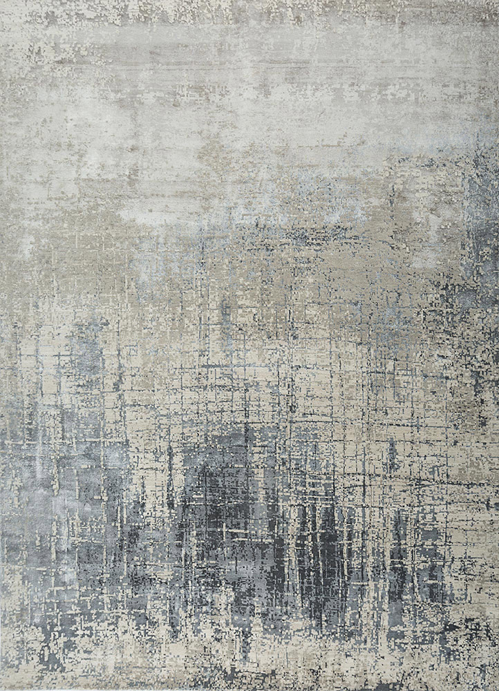 ESK-9014 Classic Gray/Pastel Blue grey and black wool and bamboo silk hand knotted Rug