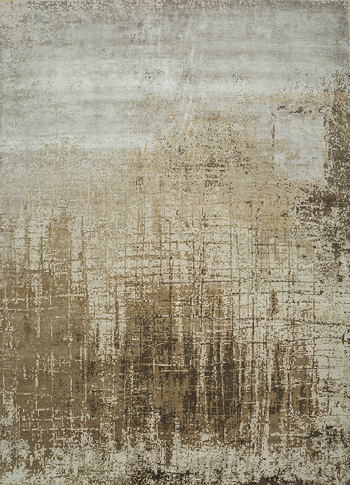 ESK-9014 Antique White/Peach ivory wool and bamboo silk hand knotted Rug
