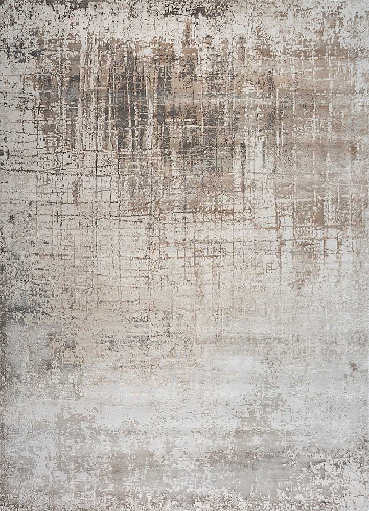 ESK-9014 White Sand/Classic Gray ivory wool and bamboo silk hand knotted Rug