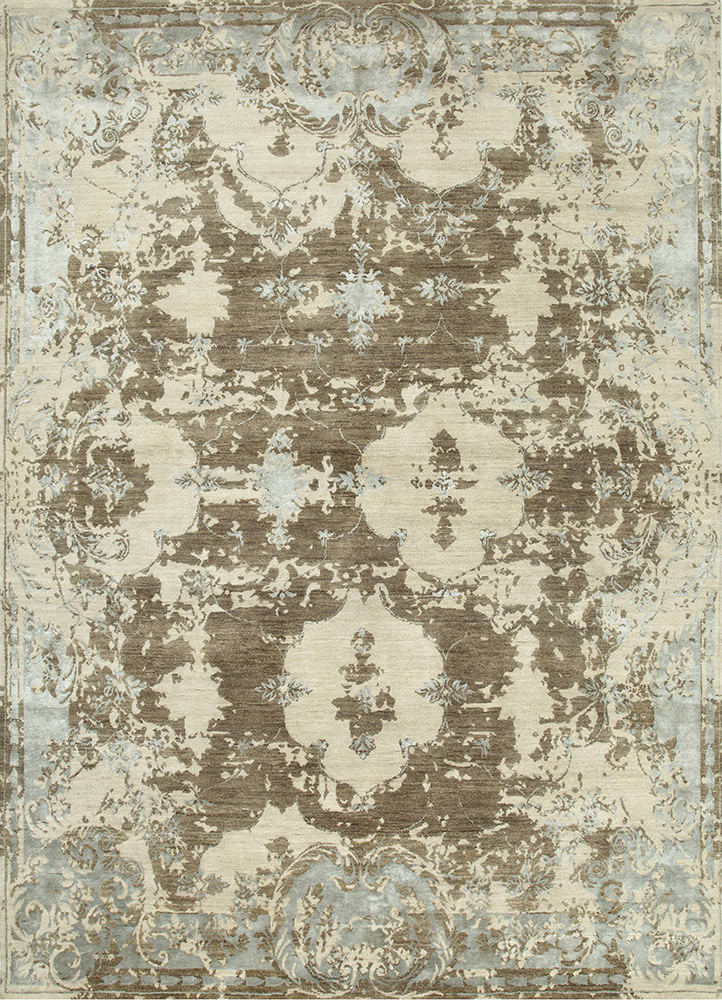kibrast grey and black wool and viscose hand knotted Rug - HeadShot