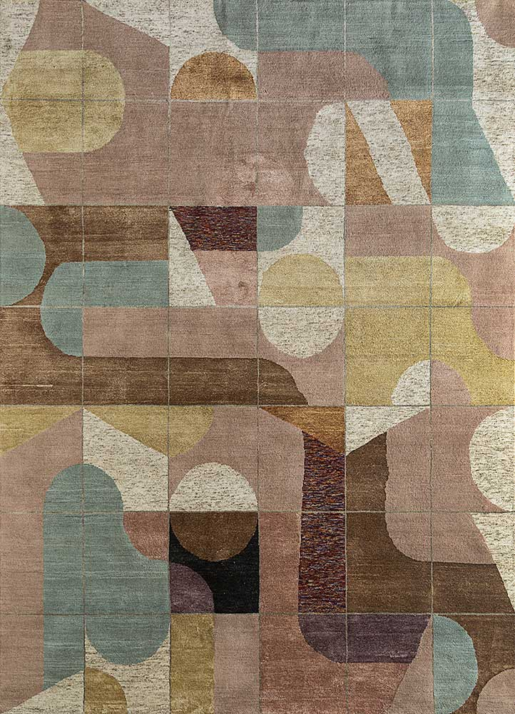 ESKN-1002 Rose Smoke/Soft Mint pink and purple wool and bamboo silk hand knotted Rug