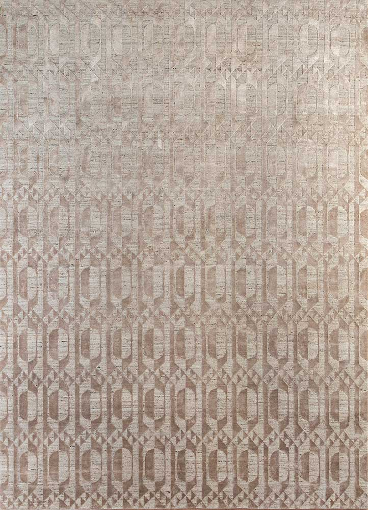aakar by kavi beige and brown wool and bamboo silk hand knotted Rug - HeadShot