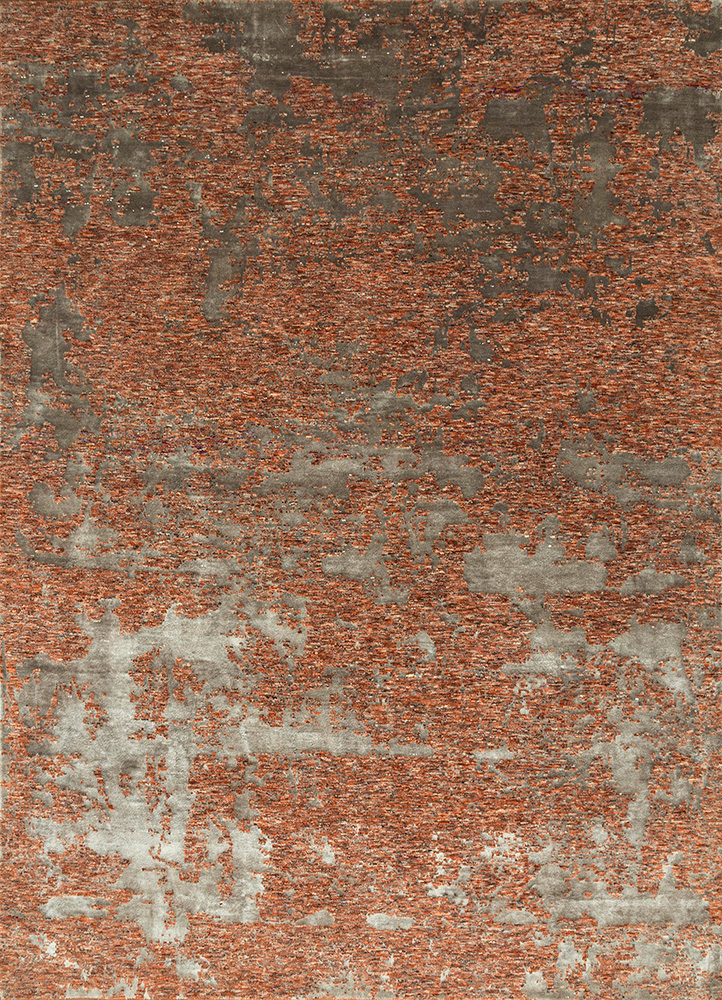 ESKN-431 Merlot Red/Fossil red and orange wool and bamboo silk hand knotted Rug