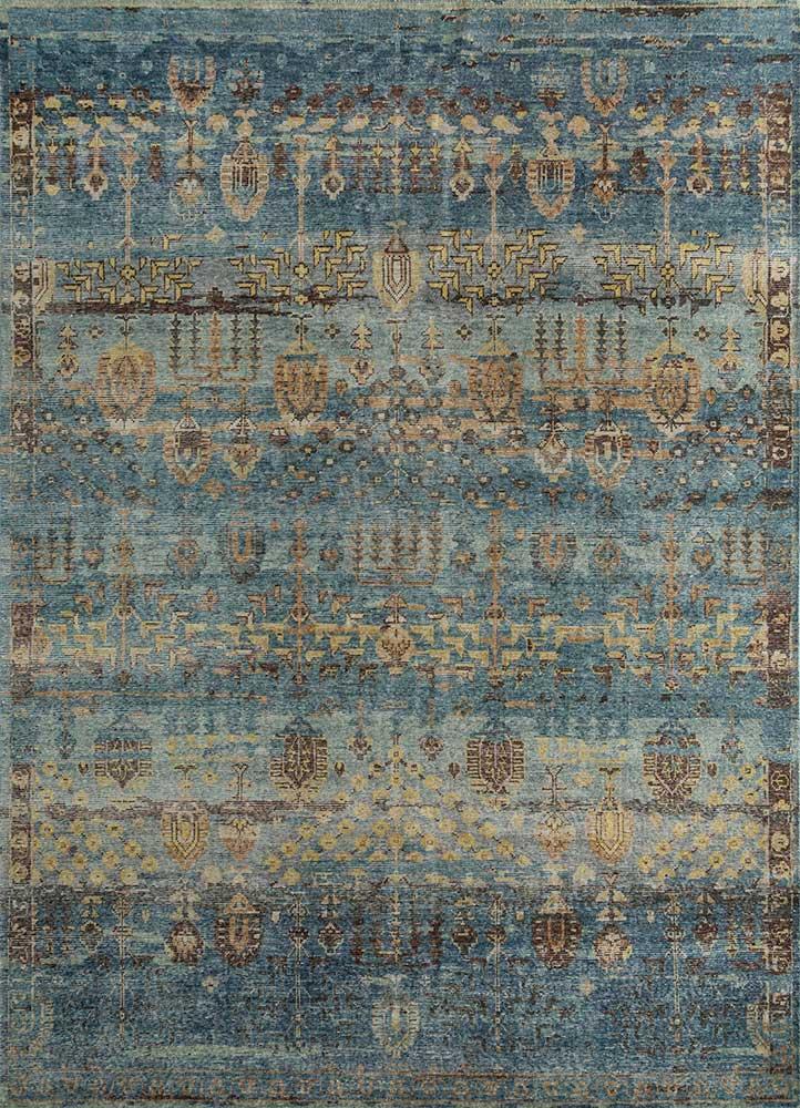 viscaya blue wool hand knotted Rug - HeadShot