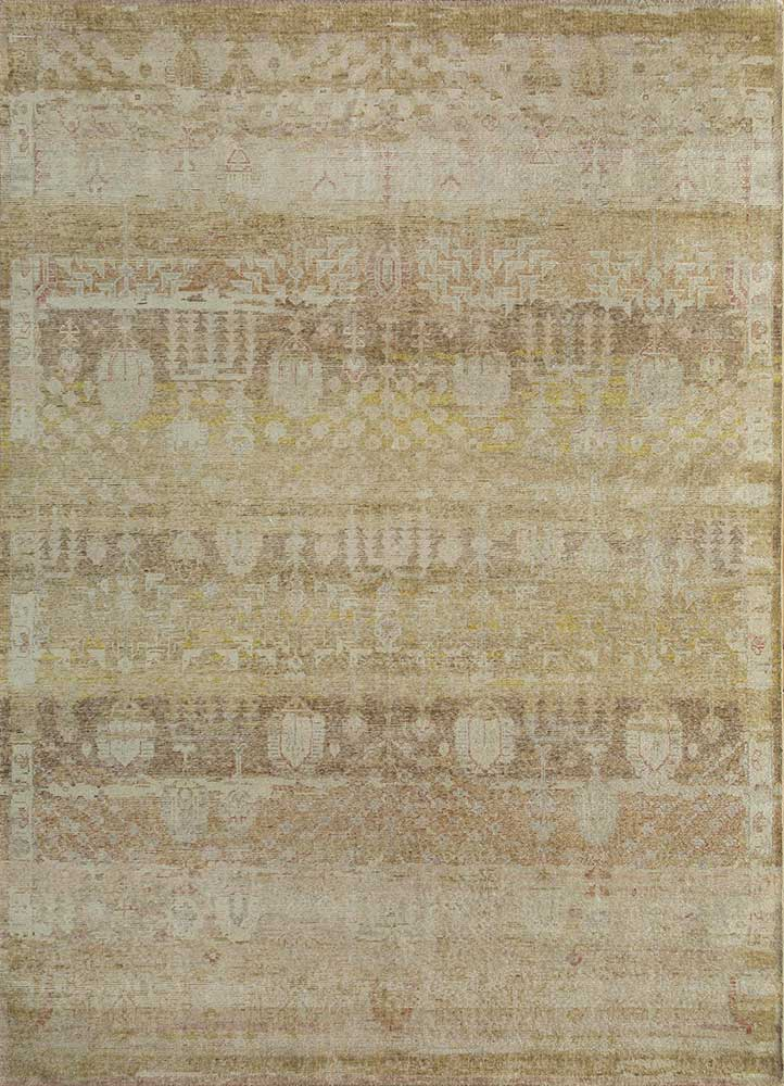 GS-1015 Spice Brown/Soft Beige gold wool hand knotted Rug