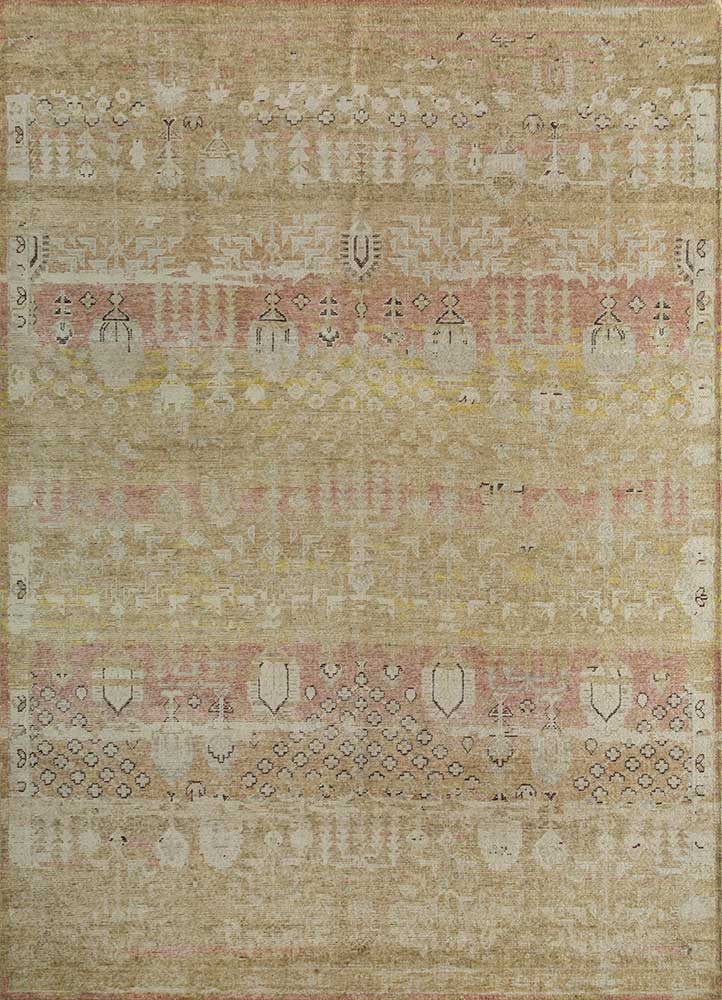 GS-1015 Spice Brown/Bright Gold gold wool hand knotted Rug