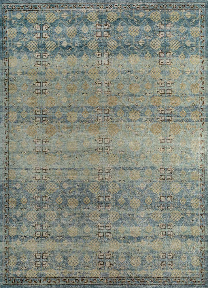 GS-1016 Teal Blue/Aegean Blue blue wool hand knotted Rug