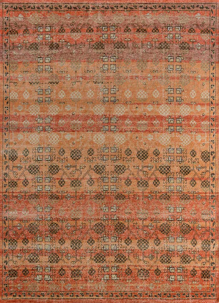 GS-1016 Carnelian/Poppy red and orange wool hand knotted Rug