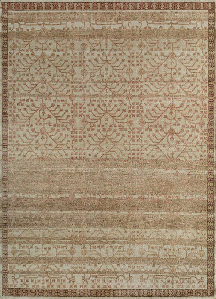 GS-1017 Soft Beige/Clay beige and brown wool hand knotted Rug