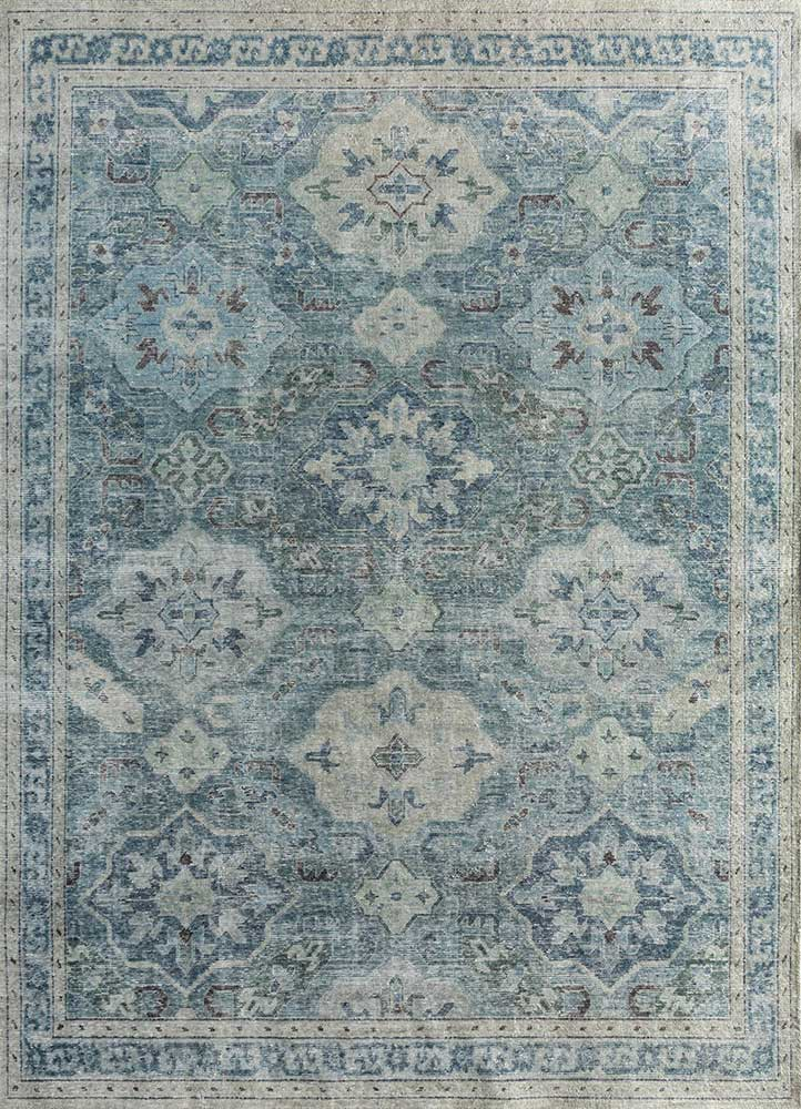 pansy blue wool hand knotted Rug - HeadShot
