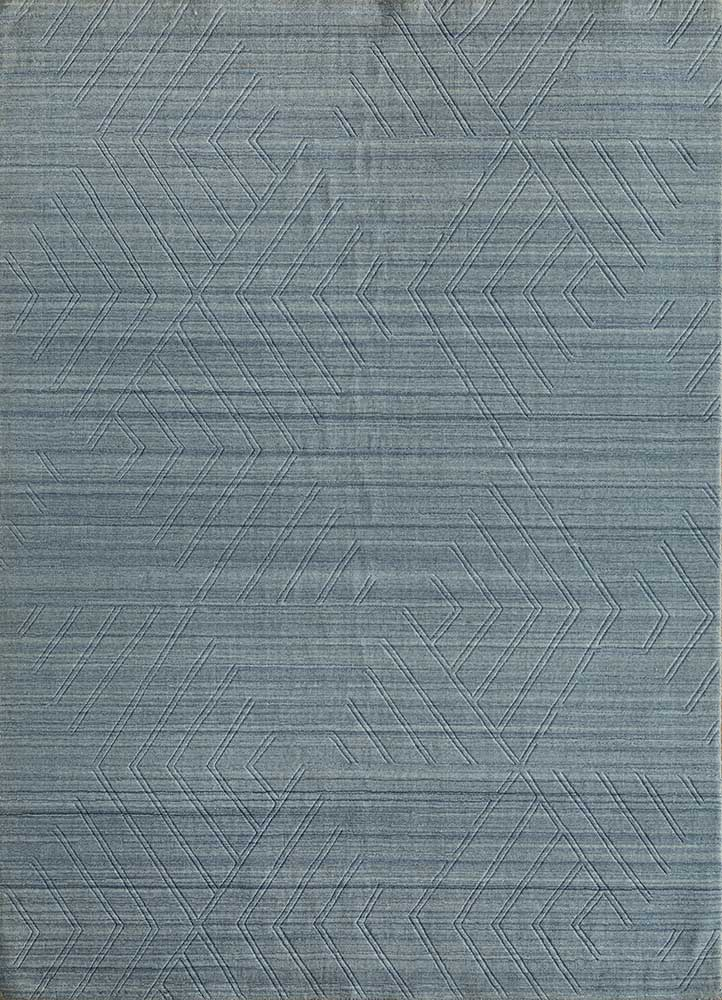 graze blue polyester hand loom Rug - HeadShot