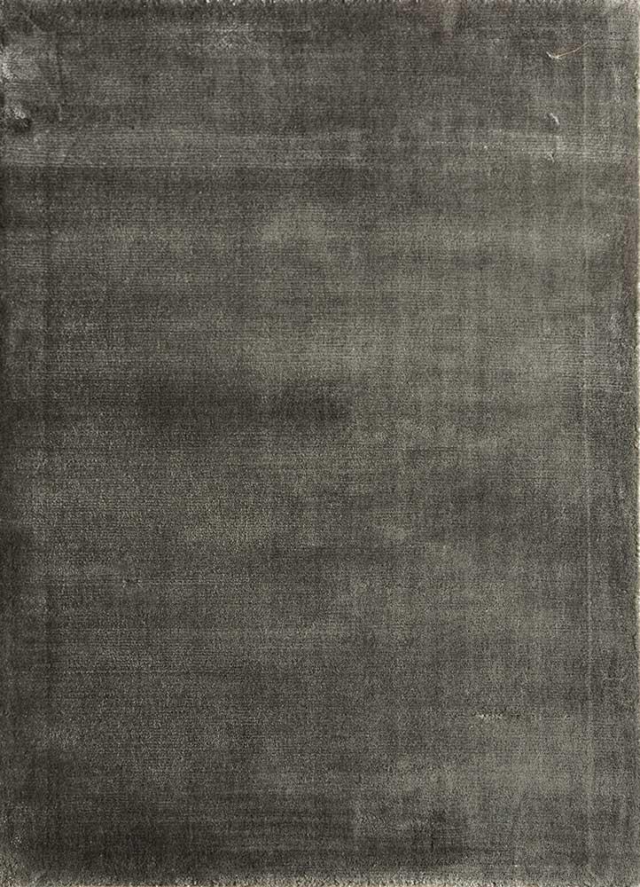 yasmin grey and black viscose hand loom Rug - HeadShot