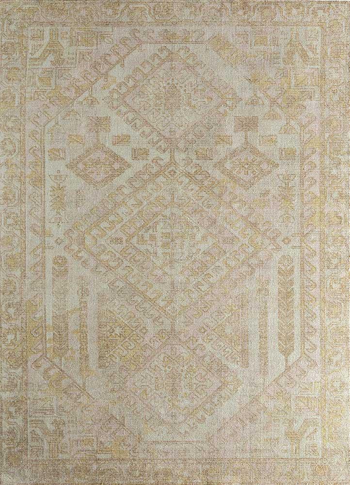 oxford ivory wool and bamboo silk hand loom Rug - HeadShot
