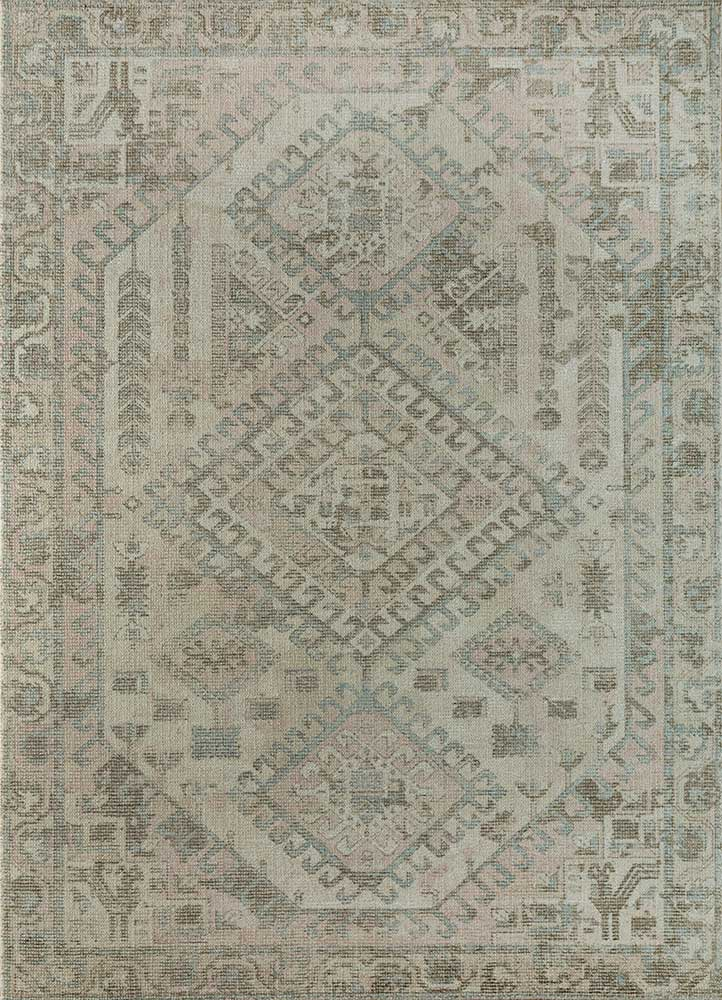 acar beige and brown wool and bamboo silk hand loom Rug - HeadShot