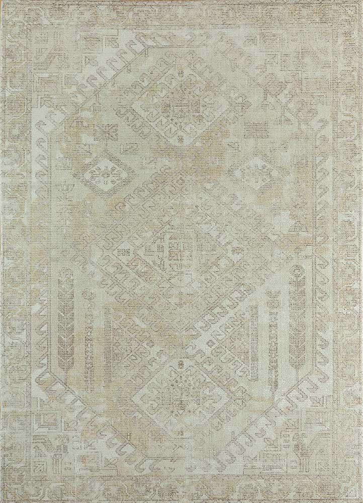 acar ivory wool and bamboo silk hand loom Rug - HeadShot