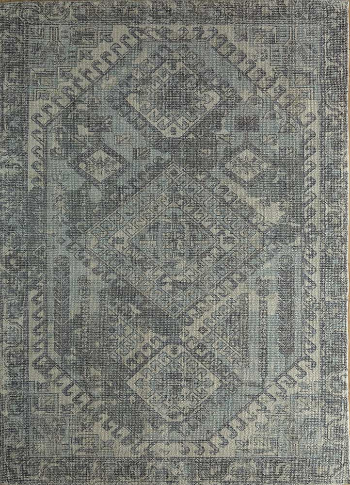 HWB-1001 Ombre Blue/Black Ink blue wool and bamboo silk hand loom Rug