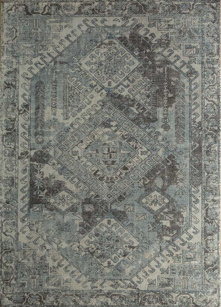 HWB-1001 Ombre Blue/Black Berry blue wool and bamboo silk hand loom Rug