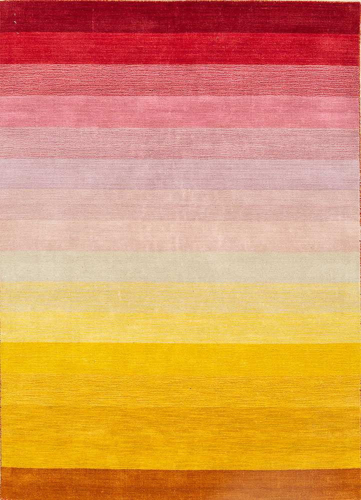 HWL-01 Sun Orange/Saffron red and orange wool hand loom Rug