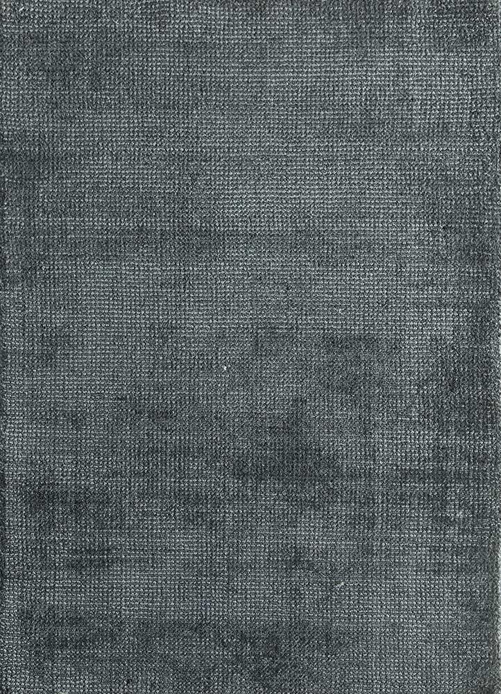 basis grey and black wool and viscose hand loom Rug - HeadShot