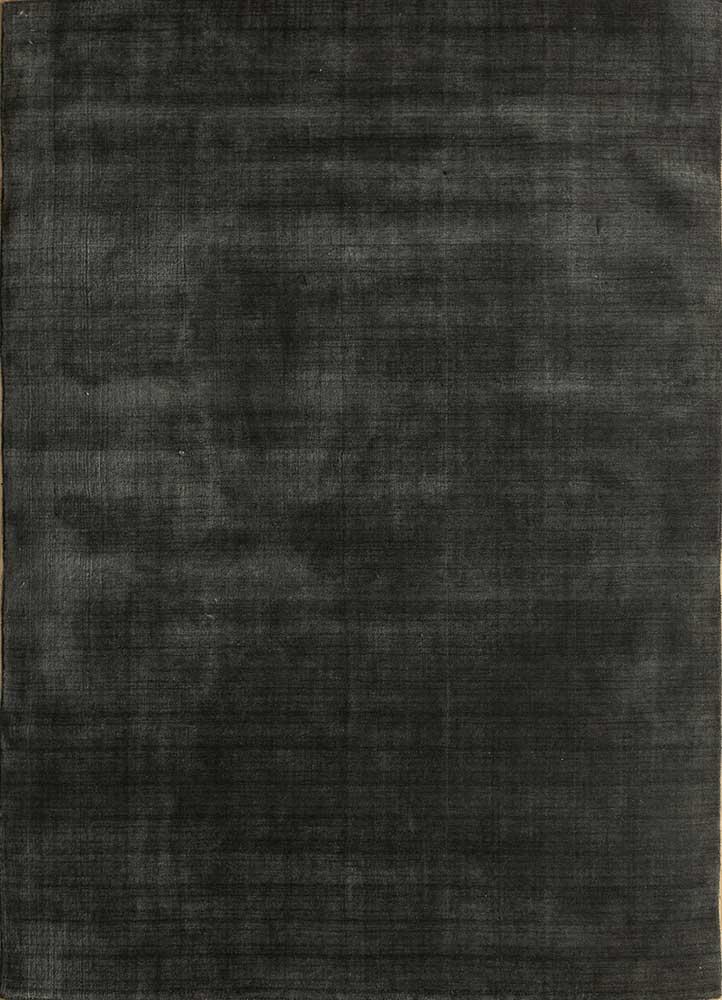 oxford grey and black wool and viscose hand loom Rug - HeadShot