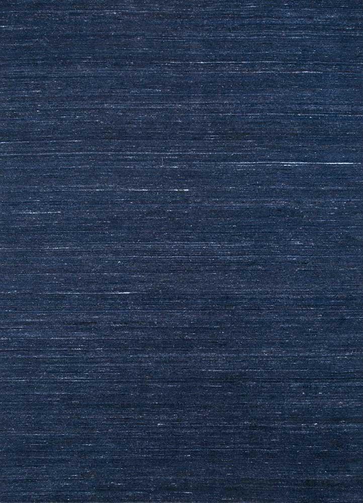 HWV-09 Deep Navy/Deep Navy blue wool and viscose hand loom Rug