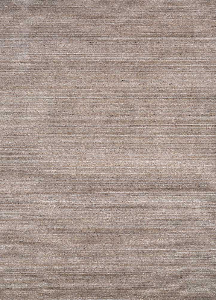 HWV-09 Natural Mushroom/Natural Mushroom beige and brown wool and viscose hand loom Rug