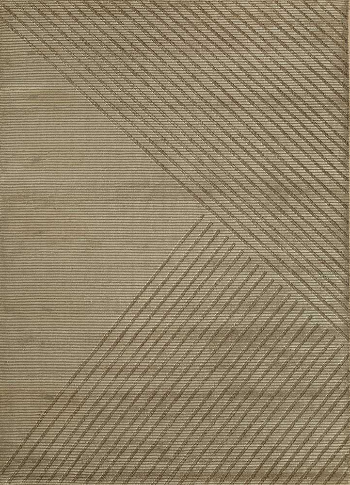 oxford beige and brown wool and viscose hand loom Rug - HeadShot