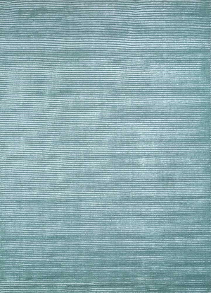 basis blue wool and viscose hand loom Rug - HeadShot