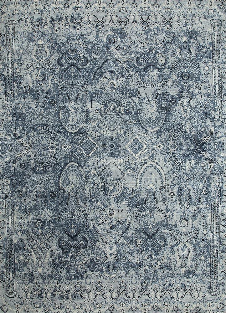 mezcla blue wool hand knotted Rug - HeadShot