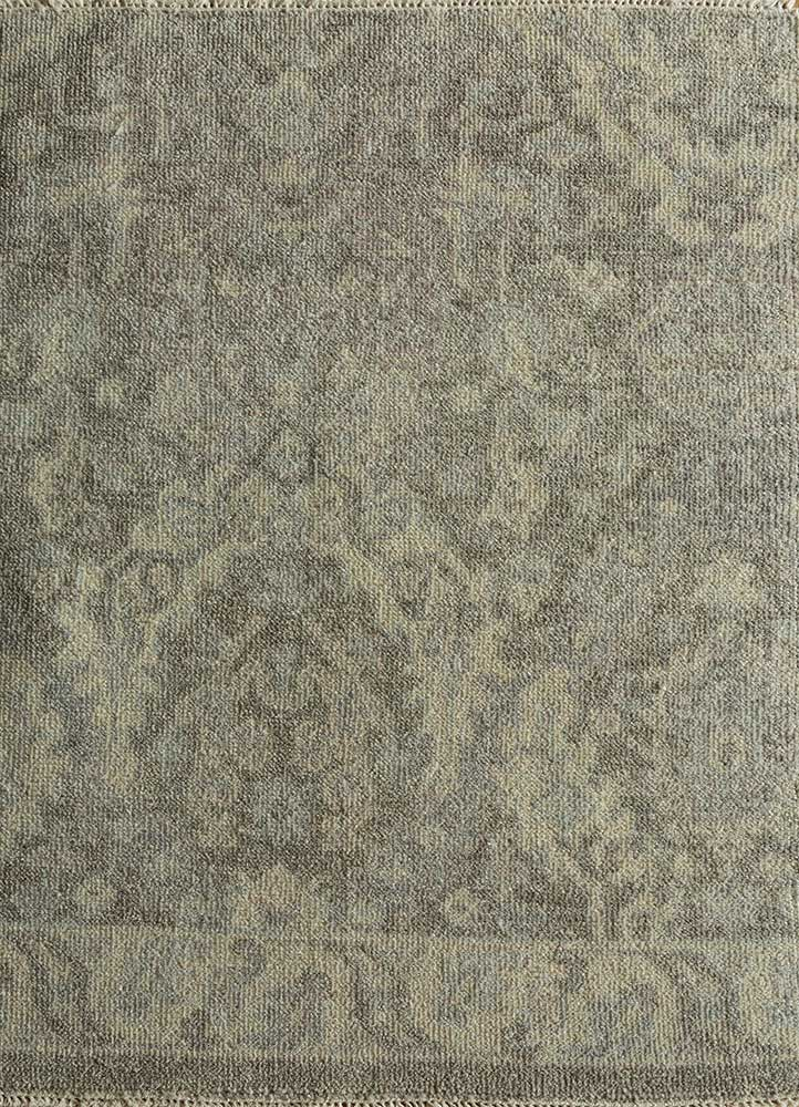erbe grey and black wool hand knotted Rug - HeadShot