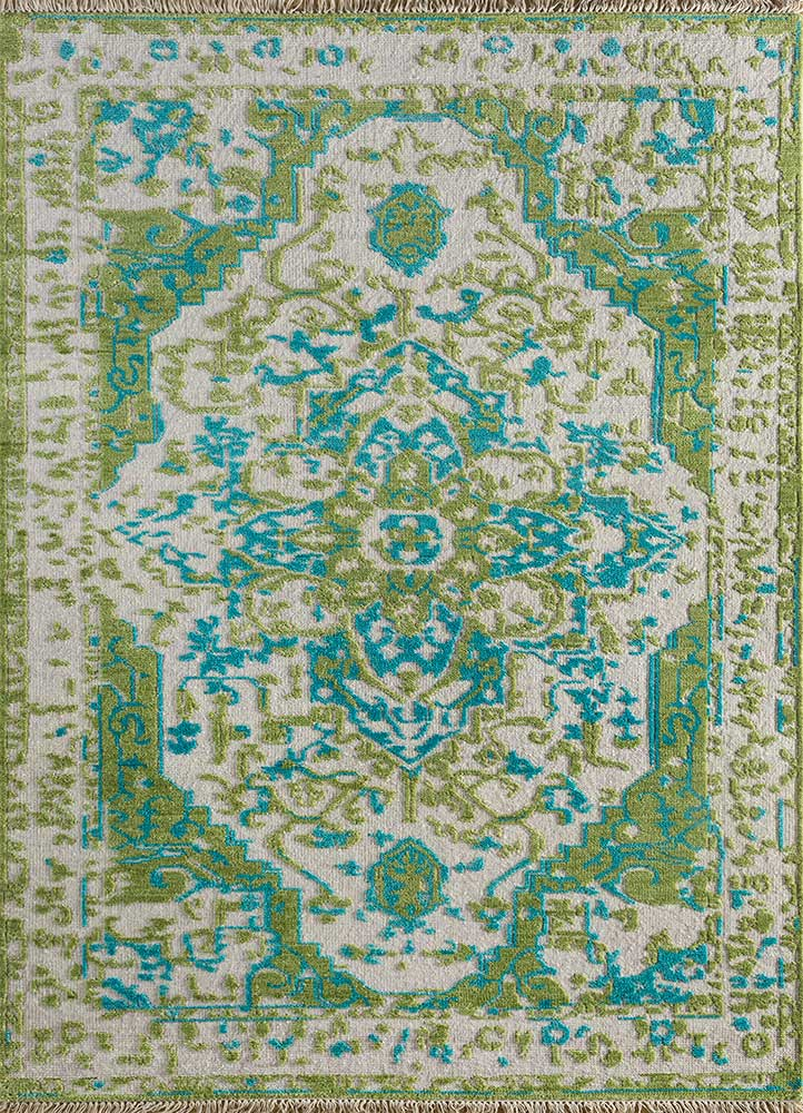 LCA-16 White/Lime Green ivory wool hand knotted Rug