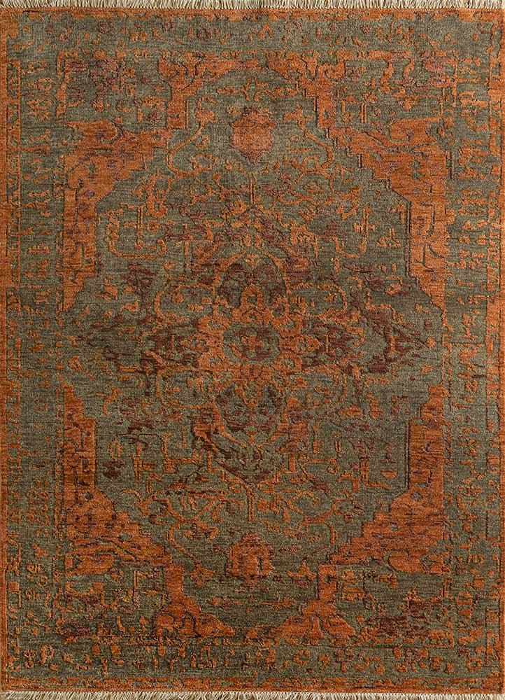 eden beige and brown wool hand knotted Rug - HeadShot