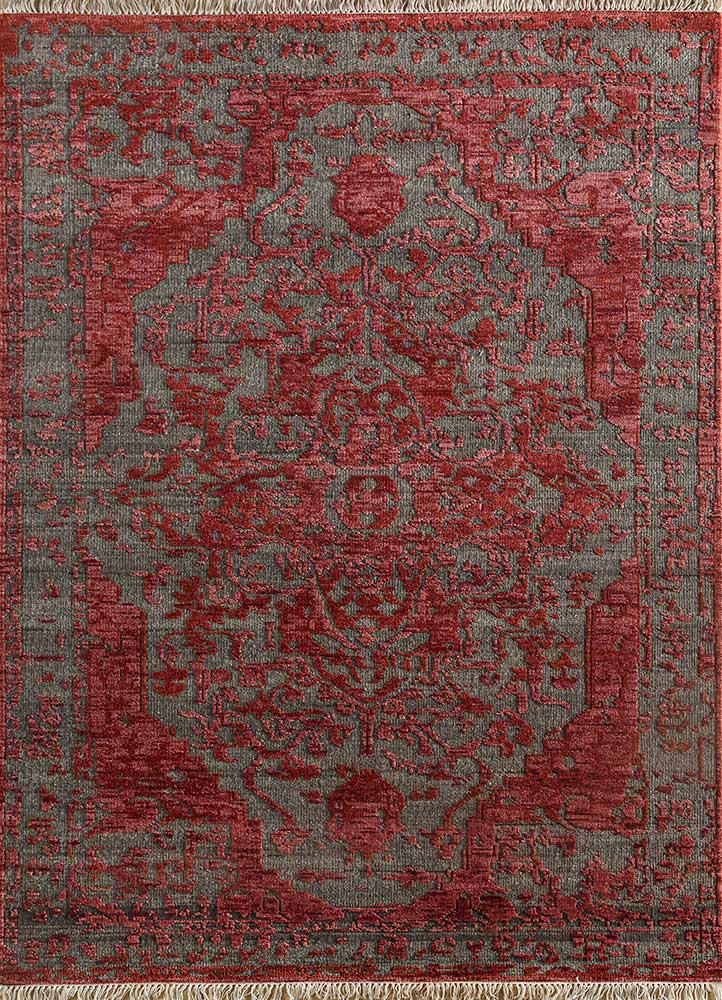 LCA-16 Liquorice/Velvet Red grey and black wool hand knotted Rug