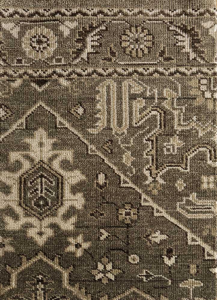 LCA-615 Mushroom/Dark Ivory beige and brown wool hand knotted Rug