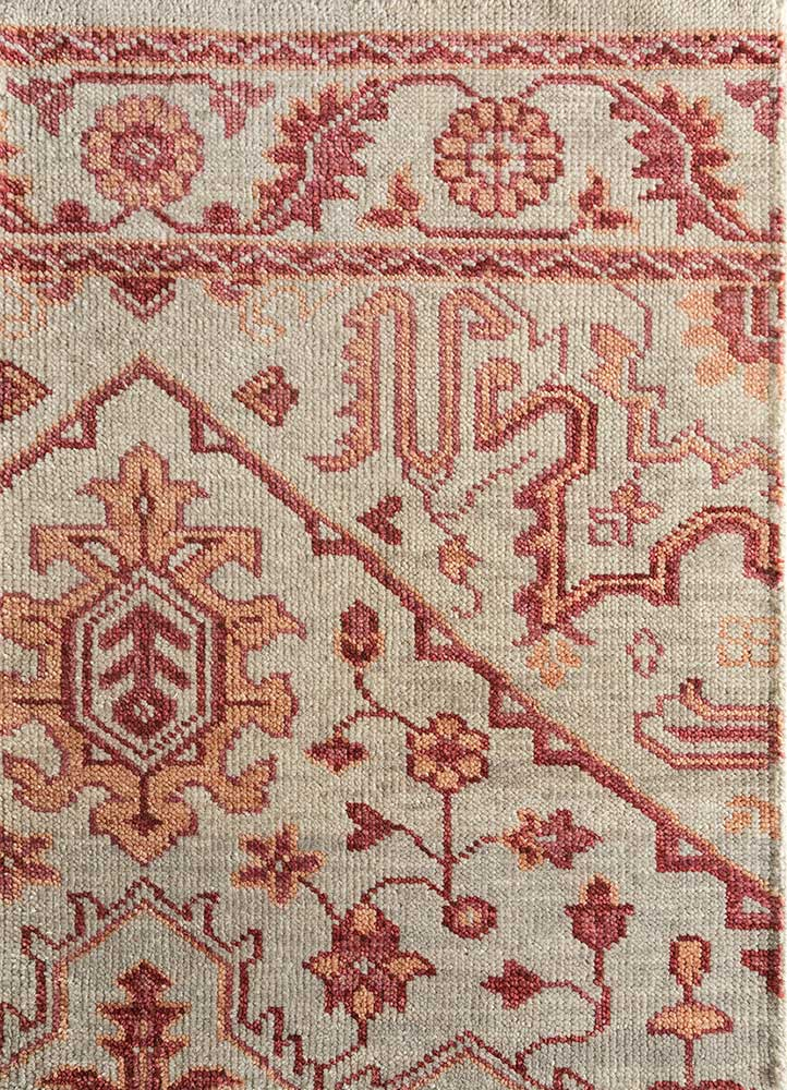 LCA-615 Antique White/RedWood ivory wool hand knotted Rug