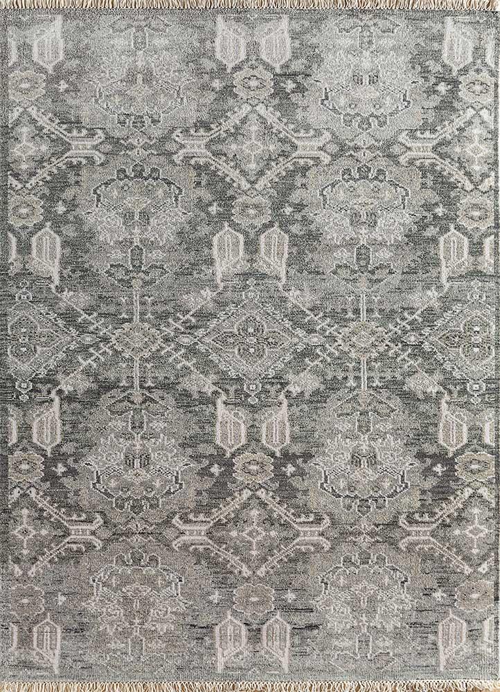 LCA-616 Charcoal Slate/Ashwood grey and black wool hand knotted Rug