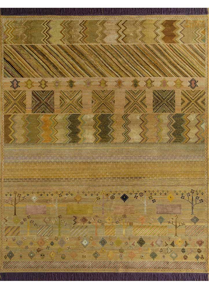 artisan originals gold wool and bamboo silk hand knotted Rug - HeadShot