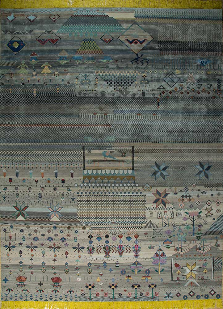 freedom manchaha grey and black wool and bamboo silk hand knotted Rug - HeadShot