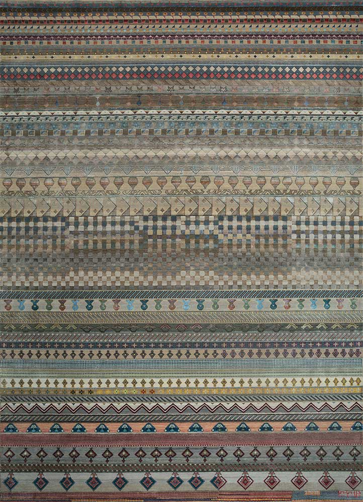 freedom manchaha beige and brown wool and bamboo silk hand knotted Rug - HeadShot