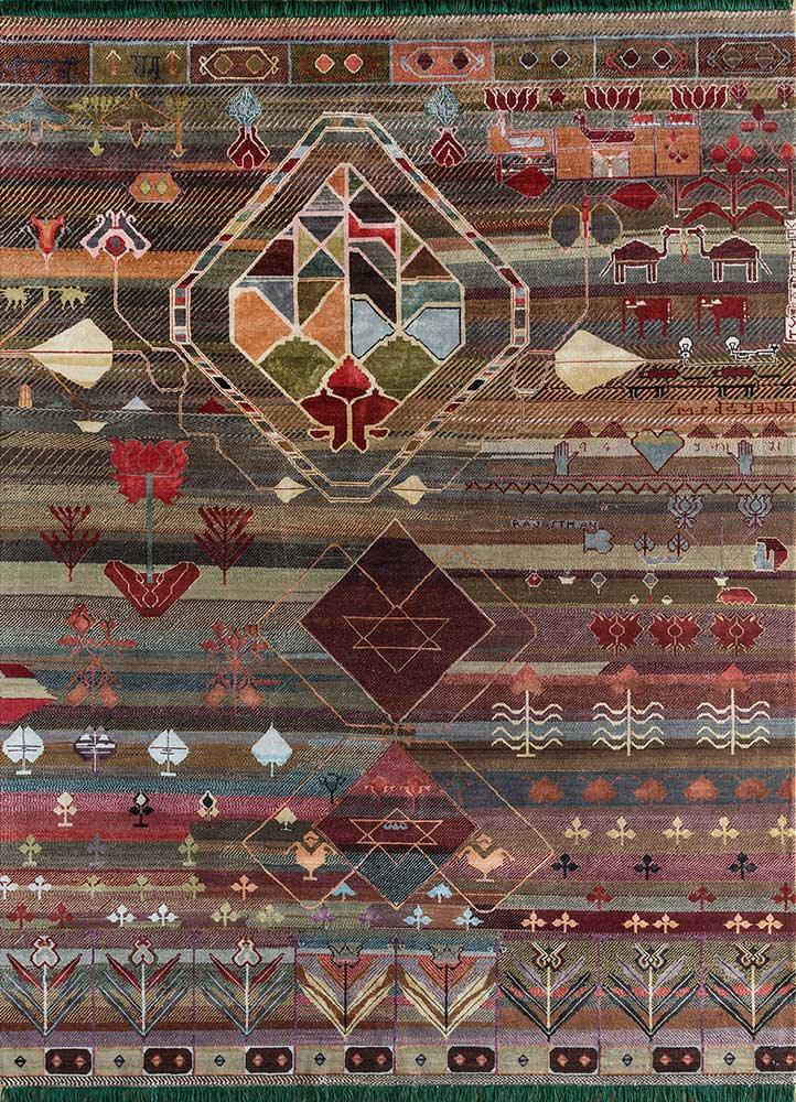 freedom manchaha red and orange wool and bamboo silk hand knotted Rug - HeadShot