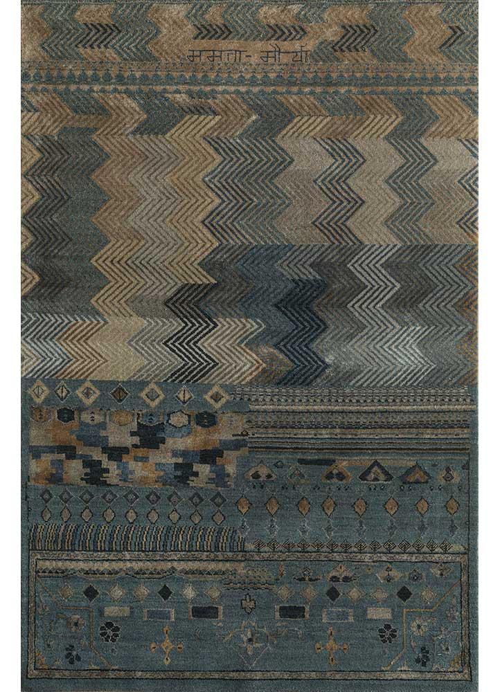 artisan originals blue wool and bamboo silk hand knotted Rug - HeadShot