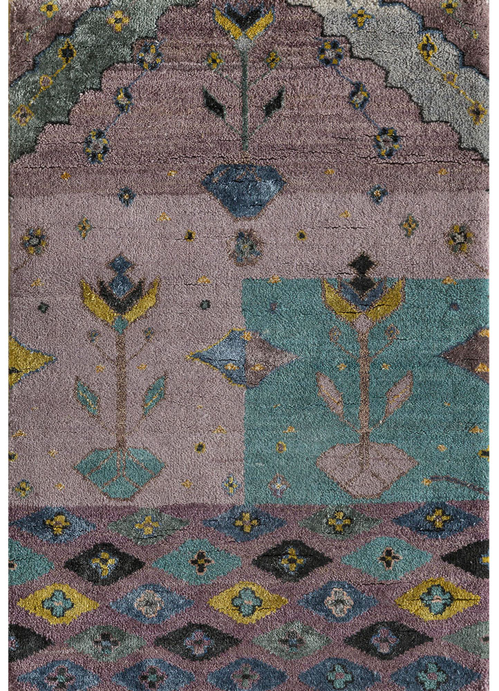 artisan originals pink and purple wool and bamboo silk hand knotted Rug - HeadShot
