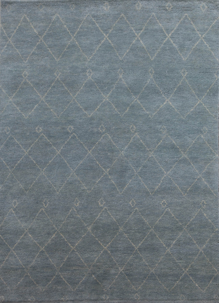 LKM-2098 Light Fog/Antique White green wool hand knotted Rug